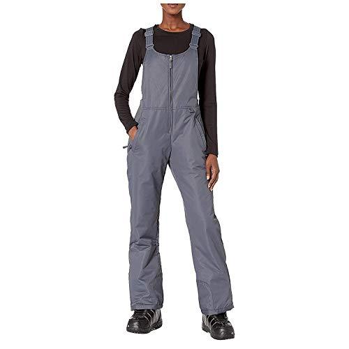 Yowablo Hosen Frauen isoliert Lätzchen Overalls einfarbige Tasche Einteilige Hosenträger (S,Damen-grau)