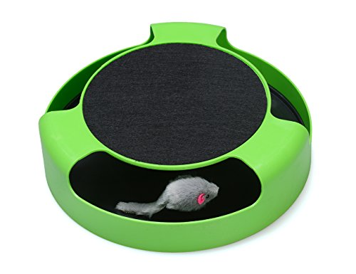 FYNIGO Cat Interactive Toys with a Running Mice and a Scratching PadCatch The MouseCat Scratcher Catnip ToyGreen