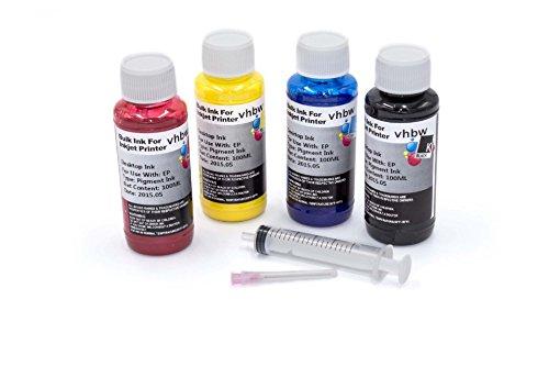 vhbw Nachfülltinte Set Schwarz, Cyan, Magenta, Yellow passend für Epson Stylus SX100, SX105, SX110, SX115.