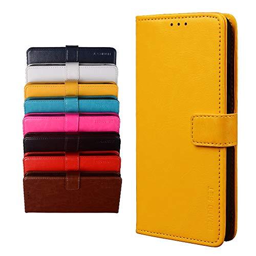 BRAND SET Schutzhülle für TP-Link Neffos X20 Handyhülle Brieftasche Kunstleder mit Magnetverschlussverriegelung & Stent-Funktion Geeignet Flip Handyhülle für TP-Link Neffos X20(Gelb)
