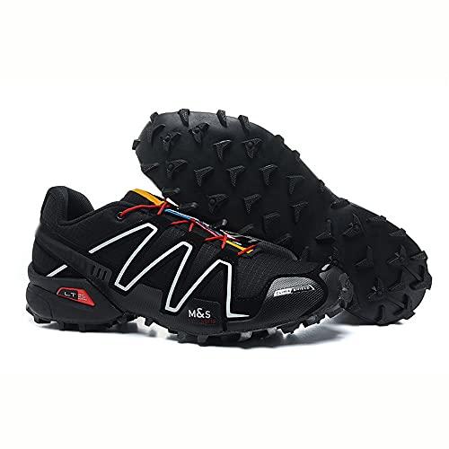 CHUIKUAJ Calzado de Ciclismo para Hombre Calzado de Senderismo Bicicleta de Montaña Calzado de Bicicleta MTB,Zapatos para Correr Casuales Antideslizantes,Black-45EU