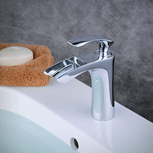 NEWRAIN Alta Cascada Grifos de lavabo,Negro Grifo de Lavabo Cascada Grifo Rectangular para Ba/ño Monomando Grifer/ía