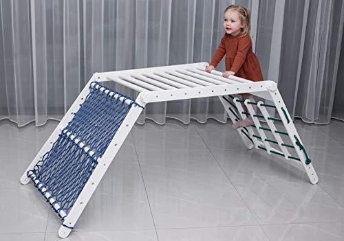 Pickler Transformable Kids Triángulo Dreieck Playhouse Ajustable Montessori Escalera Juguete Escalador Niño Pikler Gimnasio Slide Actividad Plegable (color blanco) (nido blanco)