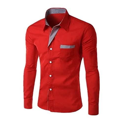 N\P Camisa de los hombres casual de manga larga a rayas contraste solapa botón de negocios