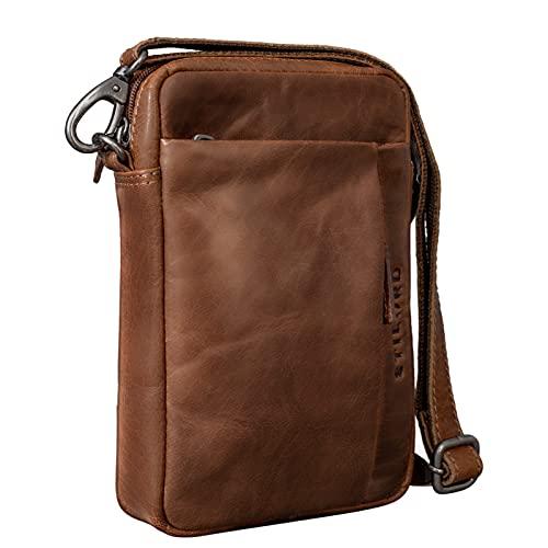 STILORD 'Fiete' 2-en-1 Bolso Bandolera Piel/Bolso Mano Hombre Piel Vintage Bolso Mensajero pequeño Bolso Mano con asa de Cuero auténtico, Color:Sepia - marrón