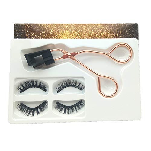 2 Paar magnetische falsche Wimpern, künstliches 3D-Wimpernset, wiederverwendbare natürliche Wimpern, Wimpernverlängerung mit Wimpernzange (Natural 1)