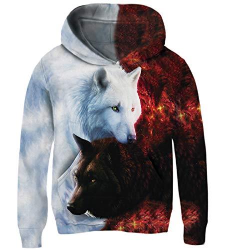AIDEAONE KinderJungen Mädchen Hooded Pullover 3D Print Fleece Jumper Hoodie Sweatshirt with Kangaroo Pocket