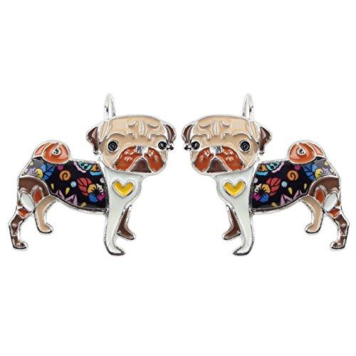 NEWEI Enamel Cute Pug Dog Earrings French Clip On Dangle for Girls Women Gift (Brown)