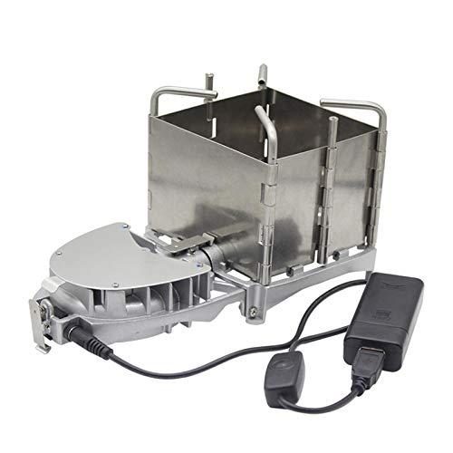 Homeatk Portátil Estufa de Madera al Aire Libre, Acero Inoxidable Plegable leña Horno de Quema, USB Estufa de carbón electrinic Cooker Grill con Mochila soplador
