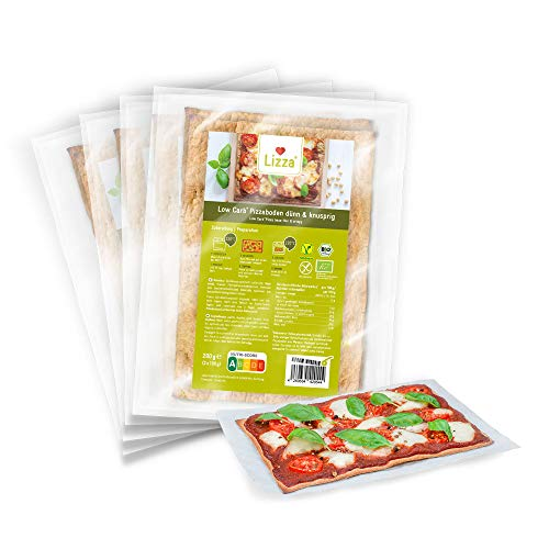Lizza Low Carb Pizza Bases (thin & crispy) | 94% Less Carbs | Organic. Gluten-Free. Vegan. | Keto & Diabetic Diet Friendly | Protein & Fibre Rich | No Added Sugar | No Preservatives | 8x Pizza Bases