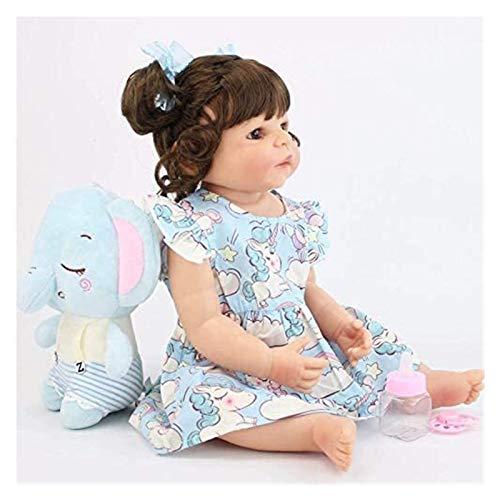 RSBCSHI Plüschspielzeug Weiche Puppe Wiedergeburt 22 Zoll 55 cm Realistische handgemachte Silikonpuppe Mädchen Geschenk, blaues Kleid