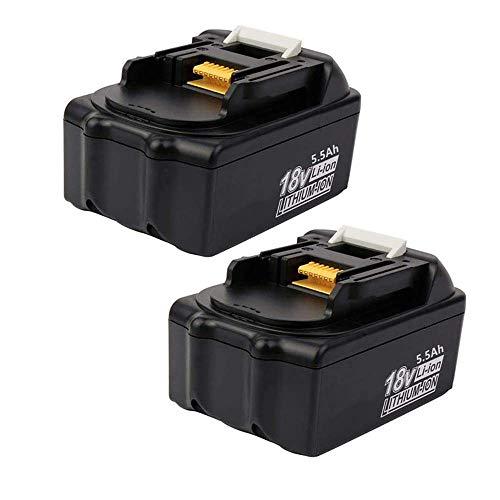 Coolsoul 2 baterías de ion de litio de 18 V 5,5 Ah para Makita BL1860 BL1850 BL1830 BL1860B BL1850B BL1840B BL1815 BL1835 BL1845 194205-3 194204-5 LXT-40000 Batería Makita de 18 V.