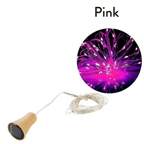 YMXCP 20LED Garland Solar Wine Bottle Lights Solar Cork Fairy Lights Christmas Light Copper Garland Wire String (Color : Pink)