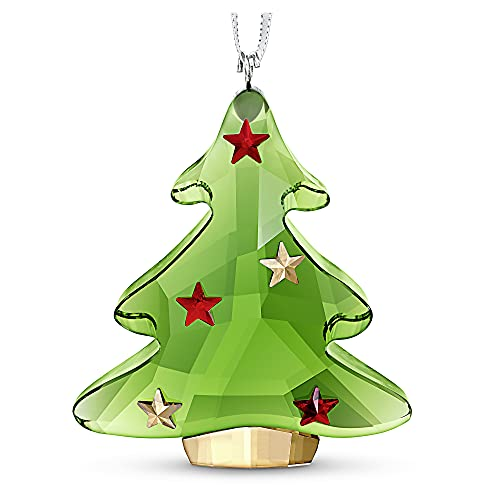 SWAROVSKI Green Christmas Tree Ornament, For Hanging on a Tree or for Display, Green Crystal with Gold and Red Accent Stars, Part of the Swarovski Joyful Ornaments Collection