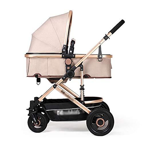 LOFAMI-Landaus Poussettes bébé portatives légères de Voyage réglables en Hauteur bébé Avion poussettes et poussettes poussettes pour bébés (Color : Khaki, Taille : 23.62 * 22.44 * 39.37inchs)