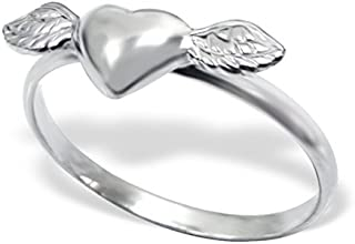 Alef Judaica Silver Winged Heart Plain Ring