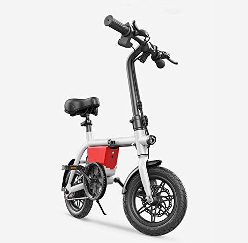 AISHFP Pequeña Bicicleta Plegable eléctrica, batería de Litio de 48V aleación de Aluminio de la Bicicleta eléctrica, 14inch Mini Mujeres de la Ciudad E-Bikes,Blanco,100KM