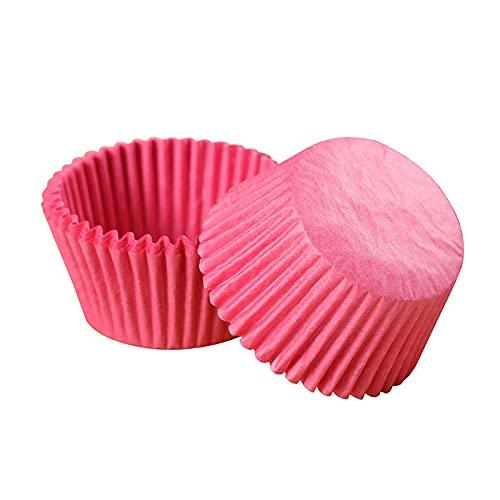 Moldes naturales para hornear magdalenas, grandes, 500 unidades, sin olor, grado alimenticio, a prueba de grasa, papel para hornear DIY (rosa)