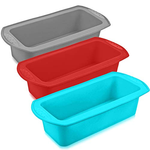 DOERDO 3 Pieces Silicone Loaf Pan Rectangle Shape Bread Pan Silicone Cake Baking Mold for Homemade Break,Cake,Quiche