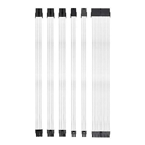 Noua Anix Kit Cavi Prolunga Estensione per Alimentatore Sleevato in Nylon con Pettini | 1x 24 P (20 + 4) | 1x 8 P (4 + 4) CPU | 2X 8 P (6 + 2) | 2X 6 P, 300mm, Bianco