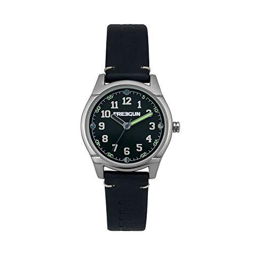 Freegun – Varial – ee5258 – reloj para niño Childrens Uhr analog Quarzwerk mit Leder Armband EE5258