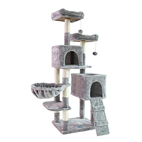 Heybrother 58#039#039 MultiLevel Cat Tree Condo Furniture with SisalCovered Scratching Posts 2 Plush Condos Hammock for Kittens Cats and Pets Light Gray MPJ013W