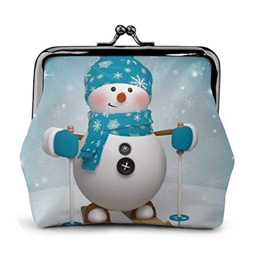 D Lovely Christmas Cartoon Skiing Snowman Snowflake Pu Leather Exquisite Buckle Coin Purses Vintage Pouch Classic L.