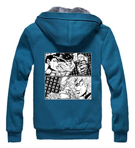 WANHONGYUE Anime JoJo's Bizarre Adventure Kapuzenpullover Hoodie Jacket Reißverschluss Fleece-Innenseite Winterjacke Plus Samt Dicke Strickjacke Outwear Sweatshirt Mantel 832/11 XXL