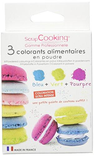Scrapcooking Kit 3 Colorants Artificiels Bleu/Vert/Pourpre (3 x 5 g = 15 g)