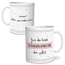 OWLBOOK Beste Krankenschwester Große Kaffee-Tasse mit Spruch im Geschenkkarton Personalisiert mit Namen Geschenke Geschenkideen für alle Krankenschwestern als Danksagung