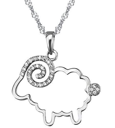 Unendlich U- 925 de plata de ley Collar con colgante de circonitas cúbicas Little diseño de oveja para mujer/niña
