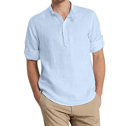 Homme Chemise, FNKDOR Hommes Blouse Décontractée à Manches 3/4 Solide Couleur sans Col Top Chemisier Ample Chemise d'affaires Doux Confortable Respirant T-Shirt(Bleu,3XL)