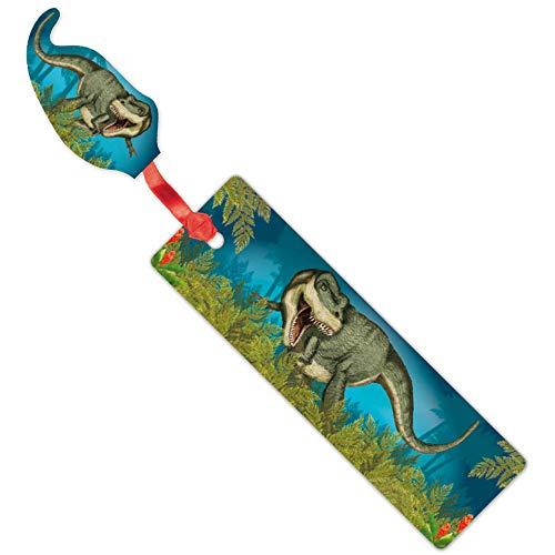 Lutz Mauder Lesezeichen * Dinosaurier & T-Rex * mit Kordel und Anhänger Geschenk Bücher Buch Kinder Lesen Mitgebsel Glitter
