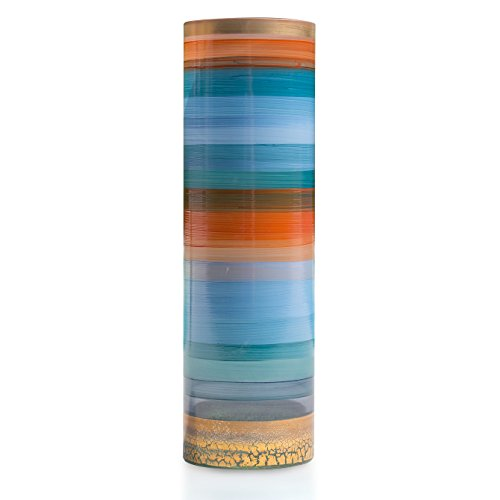 Angela nieuwe Wenen werkstaette glazen vaas veredeld cilindrisch, glas, blauw/oranje, 10 x 10 x 25 cm