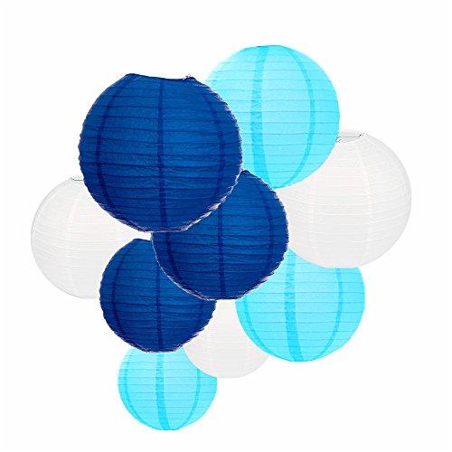 ARDUX 9 Teile/los Chinesische Handwerk Seidenpapier Laternen für Fiesta Jahrestag Geburtstag Hochzeit Decke Party Supplies Gefälligkeiten Hängende Dekoration (Blau)