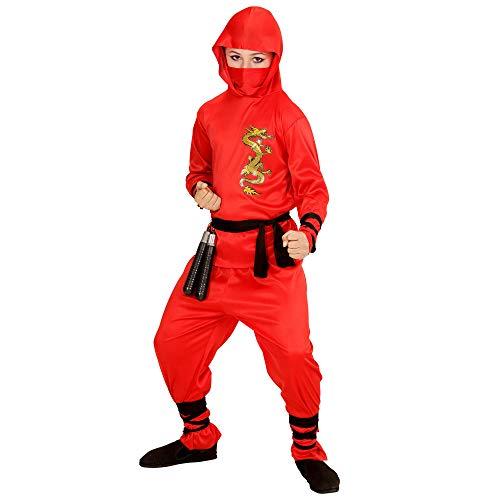Widmann 01336 ? Costume de Dragon pour Enfant Ninja, Haut avec Capuche, Pantalon, Ceinture, Masque, Rouge