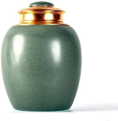 Mopoq Urna funeraria medio de sellado hecha a mano en cerámica Memorial urnas for cenizas humanas for adultos o for mascotas - Visualizar urnas funerarias en el hogar (Color : Verde)
