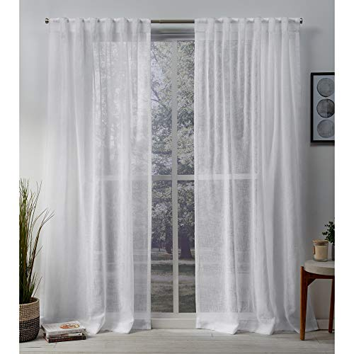 Exclusive Home Curtains Belgian Sheer Textured Linen Look Jacquard Hidden Tab Top Panel Pair, 50x96, White