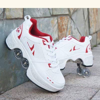TOPENTAR Multifunktionale Deformation Schuhe Quad Skate Rollschuhe Skating Outdoor Sportschuhe für Erwachsene (39, Weiß rot)