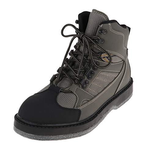 perfeclan Zapatos de Pesca Hombre Transpirable Secado Rápido Antideslizante Botas Pesca para Vadeador Cuero PU, Malla - Grosor de Suela del Fieltro: 10 mm - XL
