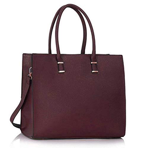 Damen Handtasche Schultertasche Tasche Large Umhängetasche Entwerfer Shopper Henkeltasche, Neu (Burgund)