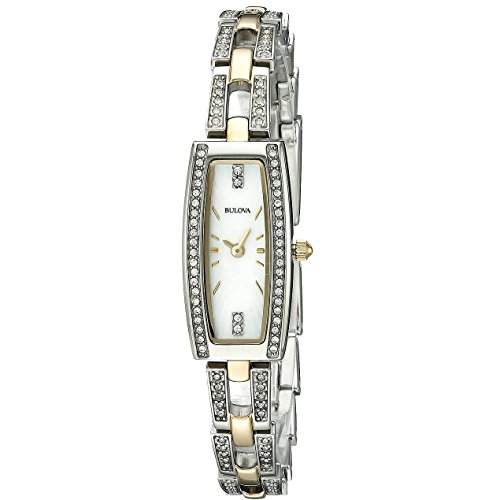 Bulova Womens 98L214 Crystal Analog Display Quartz Two Tone Watch