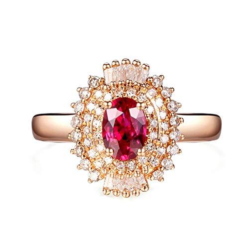 Aeici Echtgold Ring Trauring Frau Blume Ringe Rose Gold Größe 47 (15.0)