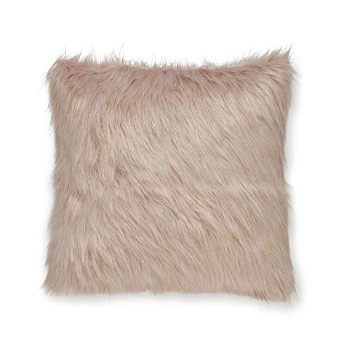 Catherine Lansfield Metallic Fur Cushion Cover Blush, 45x45cm