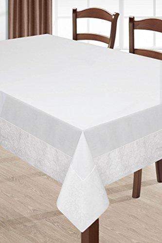 DecoKing 150x240 beige Tischdecke Tischtuch Leinoptik Ornamente Form Pflegeleicht praktisch elegant exklusiv Eva Minge Home- Kollektion Garden