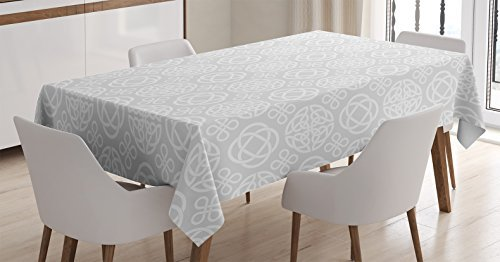 Ambesonne Celtic Tablecloth, Retro Tribal Celtic Knots Eternity Forms Pattern Boho Ireland Irish Floral Artwork, Rectangular Table Cover for Dining Room Kitchen Decor, 60' X 90', Grey White