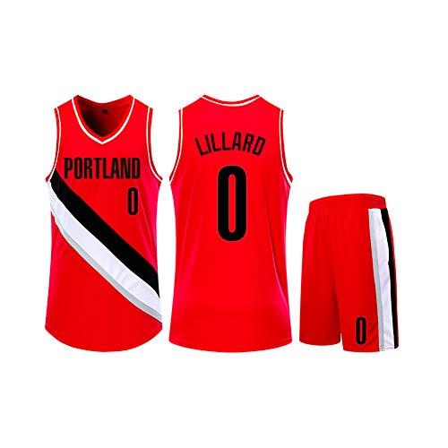 Damian Lillard Kinder Basketball Jersey, Pelikane Nummer 0 Basketball Shirt Weste Top Sommer Shorts für Jungen und Mädchen-red-2XS(135.145CM)