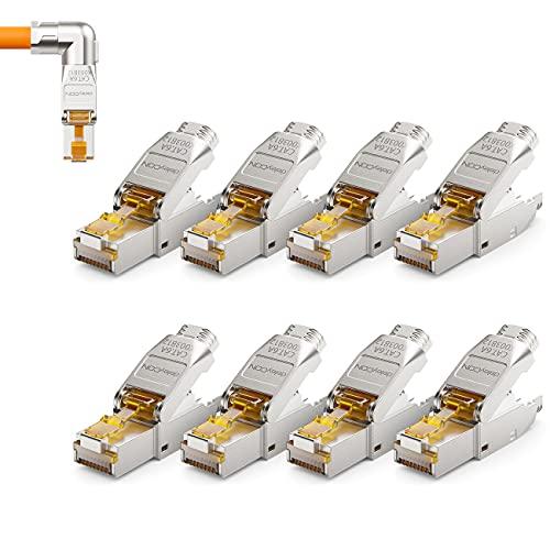 deleyCON 8x CAT 6a Spinotto di Rete Spina Angolata a 90° RJ45 Senza Attrezzi Schermata 10Gbit/s Spina di Rete per la Posa Rigidi di Cavi Grezzi Connettore RJ45 Ethernet LAN Cavo Patch DSL