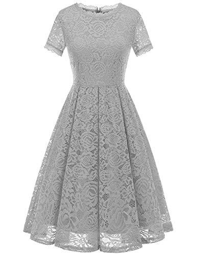 DRESSTELLS Damen Midi Elegant Hochzeit Spitzenkleid Kurzarm Rockabilly Kleid Cocktail Abendkleider Silver XL