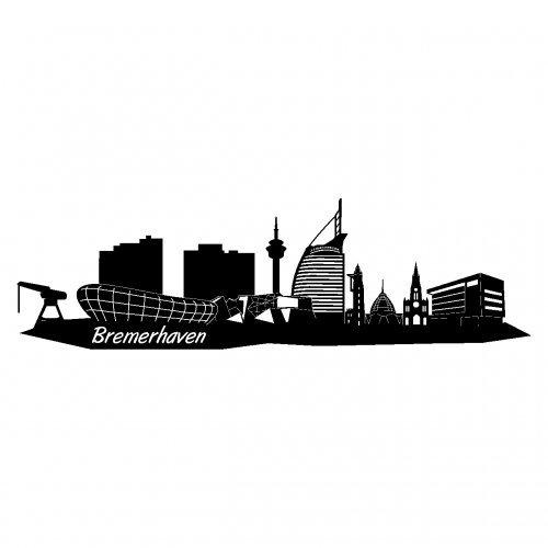 Skyline4u Wandtattoo Stadt Bremerhaven Wandsticker in 6 Größen und 19 Farben (50x14,7cm schwarz)